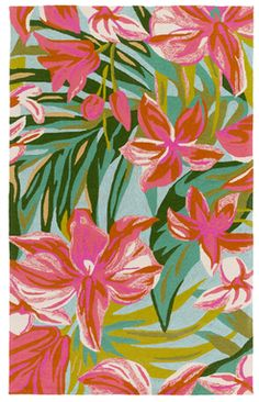 Skye Hand-Hooked Rug -  floral design with emblazed hues  - [ad]