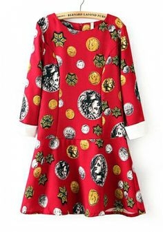 Fashoin Enchating Fashionable Dizzying Red Blending round neck Long Sleeve Print Fashion Dresses