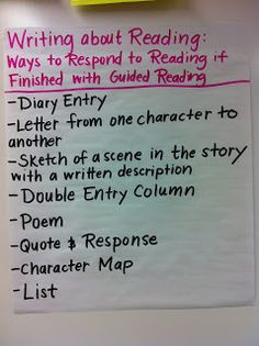 Different ideas for writing about reading to put on an anchor chart for students to reference when they finish guided reading early.