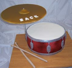"""12"""" Snare drum cake with cymbal and drumsticks"""