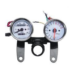 Partol Motorcycle Backlit Dual Speedometer Tachometer Kit Speed Meter Tacho Gauge Universal 12V For Honda Yamaha Suzuki Kawasaki