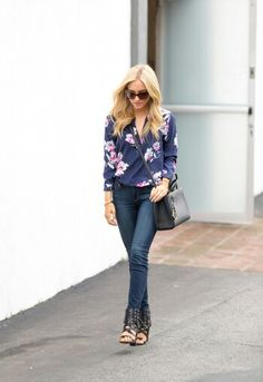 navy blue and pink floral blouse and jeans