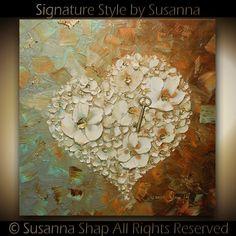 ORIGINAL Abstract Thick Texture Flowers Art por ModernHouseArt, $345.00