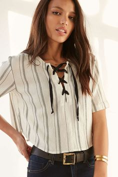 BDG Tavi Lace-Up Blouse - Urban Outfitters