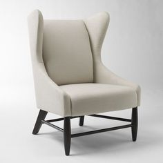 Furnitures, : Contemporary Wingback Chair Wing White Dark Wood Legs Design