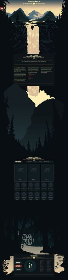 Angry Bear Site Illustration & Design by Brian Miller, via Behance