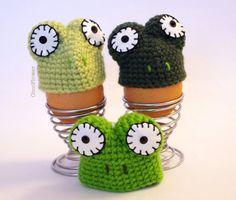 3 frosch grün Cozy Eierwärmer Häkeln Wolle Eierbec