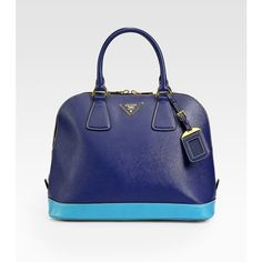 Prada Saffiano Lux Bi-Color Top Handle Bag ($1,595) ❤ liked on Polyvore
