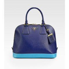 Prada Saffiano Lux Bi-Color Top Handle Bag ($1,595) ❤ liked on Polyvore