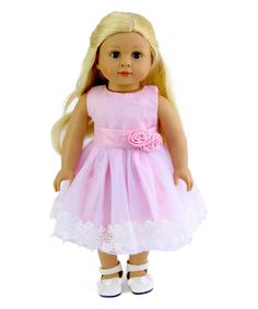 Take a look at this American Fashion World Pink & White Lace Dress for 18'' Doll today!