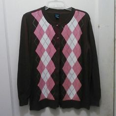Sweater Long sleeve, burgundy with pink/white/burgundy diamond shape, 7 buttons in front. 1  button missing  100% cotton  machine wash. Great condition, very clean. basic editions Sweaters