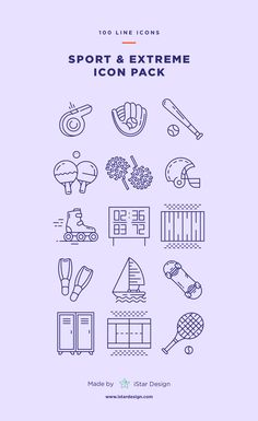 Sport & Extreme Icons Set made by iStar Design. Series of 100 pixel-perfect icons, created by influence of various sports, gym, exercises, extreme and another activity. Live stroke & outlined stroke icons available to suit your design from 1 pt upwards. Carefully handcrafted icons usable for digital design or any possible creative field. Suitable for print, web, symbols, apps, infographics.
