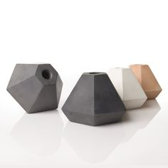 Image of Coloured Concrete candleholder in coral, grey and white