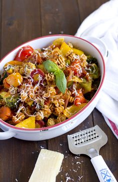 Rainbow Pasta with quick n easy home-made Tomato Sauce