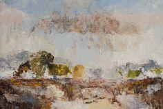 Winters Dorpje | Landschap, Schilderij, Olieverf, Kleurrijk, Abstracte Kunst | 60x120cm Annemiki Bok