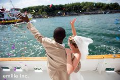 confetti toss after ceremony, portland, maine, casco bay wedding | emilie inc photography