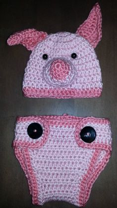 Crochet - newborn - pig hat and diaper cover