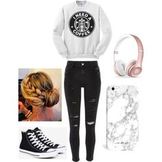 starbucks sweatshirt #starbucks | How to wear skinny jeans with converse outfit ideas | white marbel phone case
