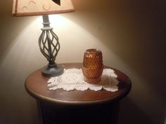 Vintage Indiana Glass Amber fairy lamp