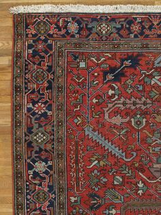 Antique Persian Heriz Carpet | From a unique collection of antique and modern persian rugs at https://www.1stdibs.com/furniture/rugs-carpets/persian-rugs/