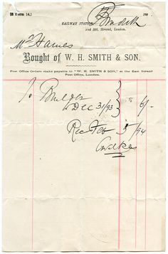 W H Smith & Son. beautiful penmanship on an old bill.