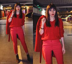 Red total look: cigarette trousers in winter outfit with cable knit sweater and boots: https://jointyicroissanty.blogspot.com/2016/11/cigarette-trousers.html  #streetstyle #moda #fashion #ootd