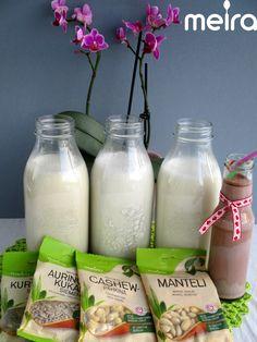 2 dlMeira pähkinöitä tai manteleita (esim. cashewpähkinöitä) 6-10 dl vettä, halutusta täyteläisyydestä riippuen Liota pähkinöitä/manteleita kylmässä vedessä...