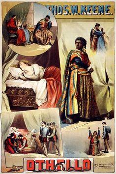 Thos. W. Keene OTHELLO PERFORMING ARTS POSTER 1884 24X36 vintage RARE