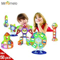 Magnetic Toy 58PCS Mini Magnetic Models & Building Kits Blocks 3D Construction Designer Set Children DIY Educational Kds Toys