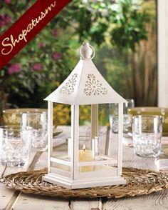 elegant white wedding centerpiece belfort candle lantern