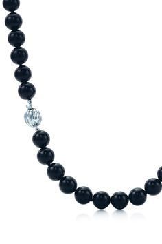 Ziegfeld Collection necklace of black onyx with a sterling silver clasp. #TiffanyPinterest