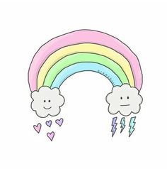 Image about rainbow in Overlays by Mia on We Heart It Kawaii Doodles, Cute Kawaii Drawings, Tumblr Stickers, Cute Stickers, Tumblr Png, Overlays Tumblr, Dibujos Cute, Aesthetic Stickers, Easy Drawings