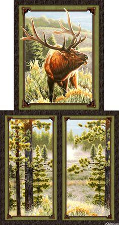 Autumn Blaze - Mountain Stream Elk - 24  x 44  PANEL-Quilt Fabrics ... : wildlife quilt fabric - Adamdwight.com