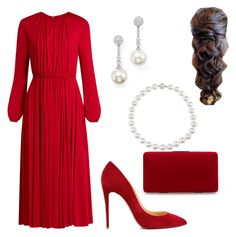 """""""Honorary dinner at City Council of Constanta"""" by dresslikearoyal on Polyvore featuring Valentino, Christian Louboutin and TARA Pearls"""