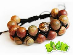 """Jasper """"Picasso"""" - each with their own unique bead pattern. Shambhala natural stone double weave.  Beads 10mm."""