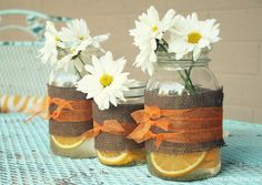 mason jar vases with orange slices ...perfect for summer!