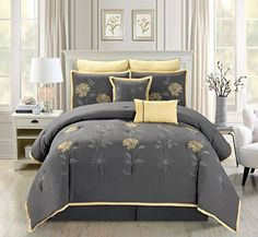 7 Piece Modern Oversize Grey / Yellow Sunflower Embroidered Comforter set California CAL KING Size Bedding -- Read more info by clicking the link on the image. #BeddingComforters