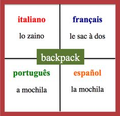 Backpack - Daily Vocabulary Word in French, Spanish, Italian and Portuguese.   http://wlteacher.word press.com/
