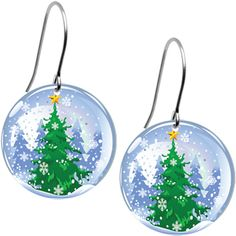 Snow Globe Holiday Tree Earrings | Body Candy Body Jewelry #bodycandy