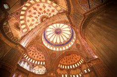 "Inside the Sultanahmet Mosque (better known as the ""Blue Mosque""), Istanbul, Turkey"