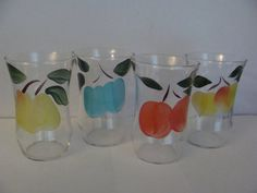 Gay Fad Juice Glasses  Vintage Hand painted Fruit by TheClassyLady, $18.00