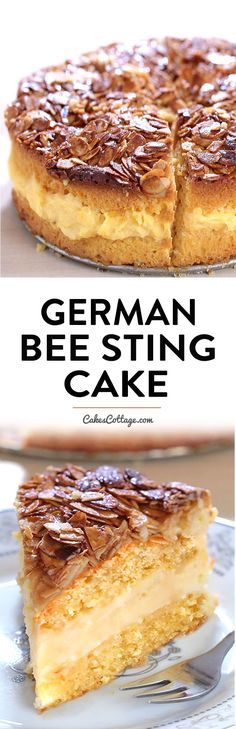 German Bee Sting Cake - Cakescottage Bee Sting Cake - Crunchy, honey-flavored almond topping, creamy filling, and two delicious yeast cake layers make this traditional German dessert absolutely wunderbar! German Bee Sting Cake, German Cake, Food Cakes, Cupcake Cakes, Cupcakes, Traditional German Desserts, Quiche, Cake Recipes, Dessert Recipes