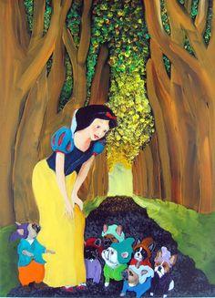 "J needs this... @Jeri Rushing   French Bulldog Art Print / ""Snow White & the 7 Littles"" / by Original Mike Holzer"