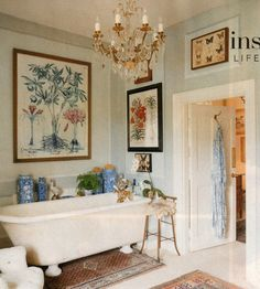 botanical prints, antique rugs, ginger jars, a clawfoot tub. all the makings of an inviting space, which just happens to be a bathroom. Home Design, Home Interior Design, Interior Decorating, Italian Interior Design, Design Ideas, Dream Apartment, Beautiful Bathrooms, House Rooms, Bathroom Inspiration