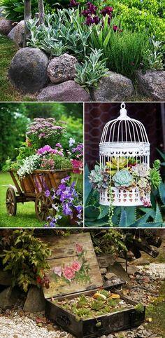 MENTŐÖTLET - kreáció, újrahasznosítás: Virágos kert Garden Fence Paint, Front Yard Garden Design, Garden Yard Ideas, Diy Garden Projects, Garden Crafts, Diy Garden Decor, House Plants Decor, Patio Plants, Cheap Landscaping Ideas