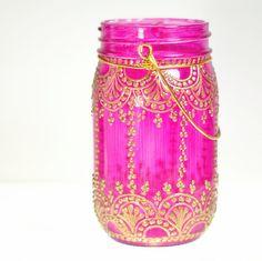 Henna Inspired Mason Jar Lantern Hot Pink Glass With por LITdecor