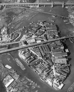 1954 – Aerial view over Granville Island. Granville Island Vancouver, Richmond Vancouver, Vancouver Bc Canada, Vancouver Photos, Casablanca, Landscape Photos, Landscape Photography, Cool Landscapes, Houses