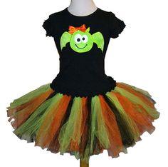 Fuzzy Green Bat Applique Halloween Tutu Set by Cloud9Tots on Etsy, $65.00