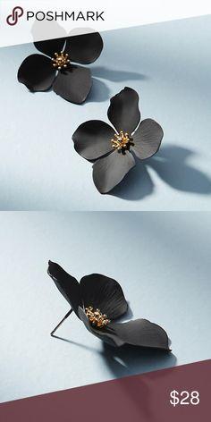 "Anthropologie Flower Stud Earrings Garden Party Sold Out! Anthropologie stud earrings by Zenzii (Retails $38)  - Hand-painted, oversized four petal flower earrings.  -18k gold-plated metal - Post back -1.6"" Length -Nickel and Lead Compliant (Hypoallergenic) Anthropologie Jewelry Earrings"