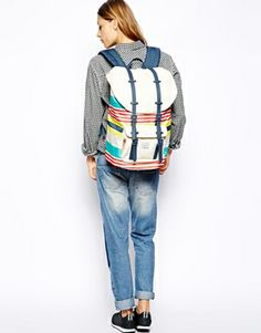 Image 4 of Herschel Little America Malibu Backpack in Stripe